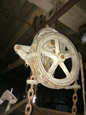 barn Antique barn grain trolley cart system pulley and track NO RESERVE