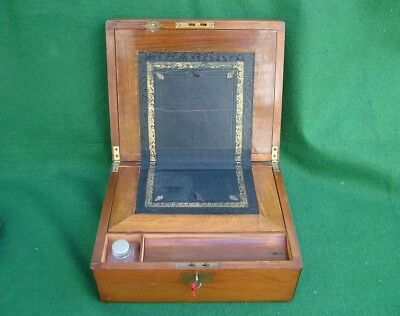 Antique Walnut Lady'S Writing Slope Box Original Complete Key & Glass Inkwell