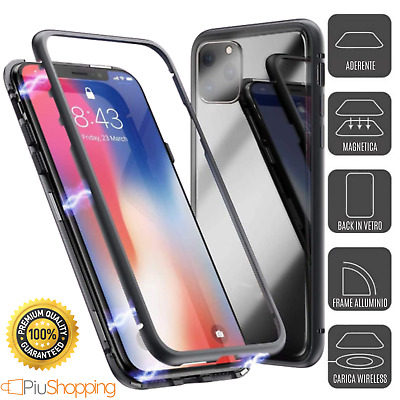 Cover Custodia Magnetica Alluminio Vetro Temperato Apple Iphone 6 6S 7 8 X Xs