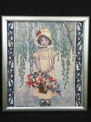 VTG Mid Century Hand Embroidered Little Girl with Flowers Bonnet Framed Picture