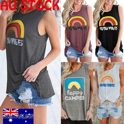 AU Womens Summer Holiday Sleeveless Floral Vest Tank Top Ladies Casual Top Shirt