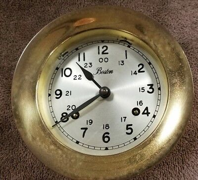"""vintage Nautical  Clock Made By Boston "" With Key"