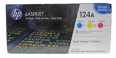 New! Genuine HP 124A (CE257A) Cyan, Magenta and Yellow Toner 3 Cartridge Pack