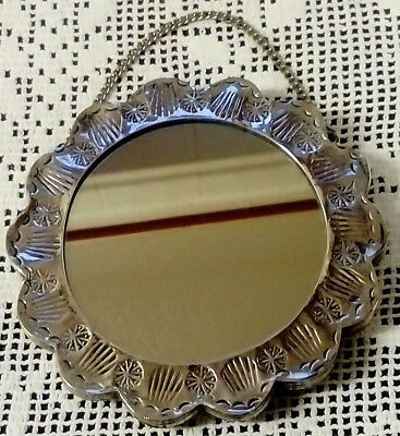 Kemal, Solid Silver Backed,  Turkish Wedding Mirror On A Silver Hanging Chain