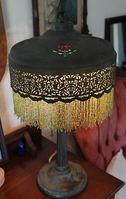 Antique Art Nouveau Deco Table Lamp Czech Beaded Shade Stained Glass Roses Old