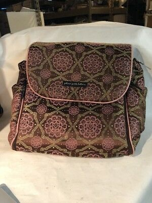 Petunia Pickle Bottom Diaper Bag Backpack EUC Chocolate Brown Pink Fabric Asian