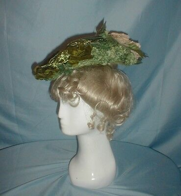 Antique Hat 1890 Green Straw Floral Trim Toque Hat