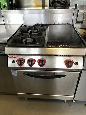 4 Burner Gas Oven with half solid top
