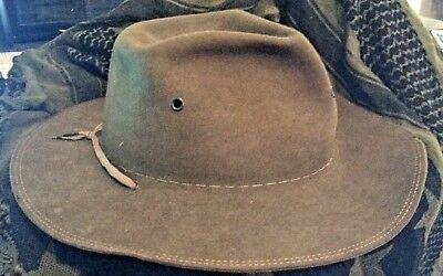 Old Campaign/survival/bushcraft Hat 7-71/8'' No Inside Or Outside Band Brown