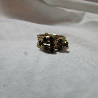 Vintage Signed Austria Purple Rhinestone Stacked Cluster Gold Tone Ring, Sz 6