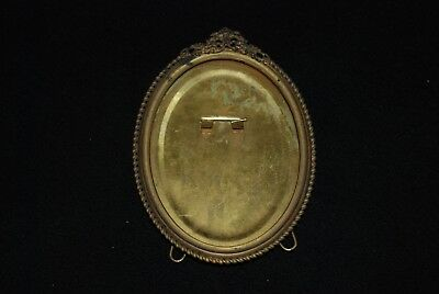 Antique Victorian Ornate Brass Oval Picture Frame w/Wire Easel Back