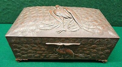Lovely Brass Or Bronze Hinged Box  Depicting Pheasants In Relief On Lid & Sides.