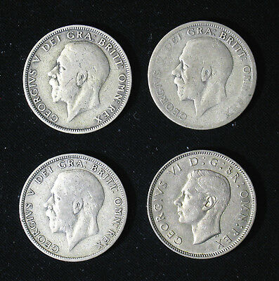 Lot of 4 Great Britain Shilling Florin silver coins 1929, 1931, 1936, 1941