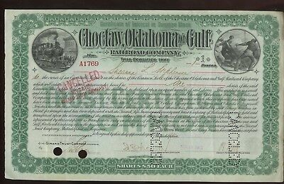 Choctaw,Oklahoma and Gulf Railroad Company Stock Certificate~Cancelled 1901