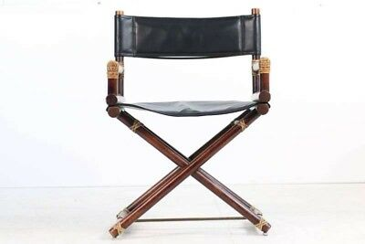 "1950's Vintage McGuire Bamboo & Brass & Leather Folding ""Director""s Chair"""
