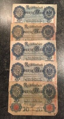 REICHSBANKNOTEN 20 Mark-3 x 19.Februar 1914-2 x 21.April 1910-Zustand s. Fotos