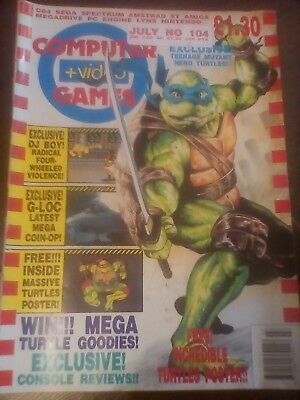 Computer and Video games vintage magazine #104 July 1990 TMHT C&VG