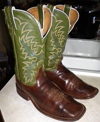 MENS 10.5 D Brown TONY LAMA USA # 7903 Cheyenne WIDE SQUARE TOE WESTERN BOOTS