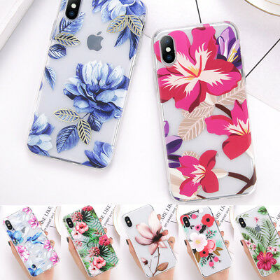 Shockproof Soft TPU Matte Floral Pattern Back Cover Case For iPhone X 8 6 7 Plus