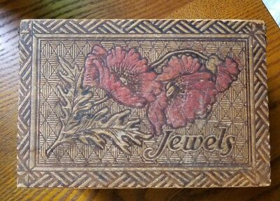 Antique Vintage Pyrography Burned Wood Box Vanity Jewels Floral Storage