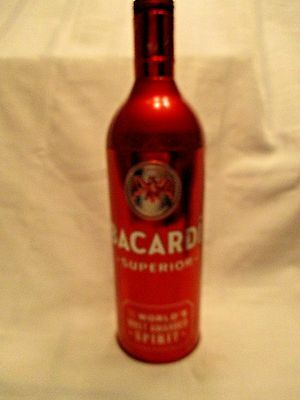 Bacardi Tin Bottle Holder 750 ml Red Metal Rum Collectible Case