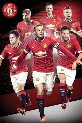 MANCHESTER UNITED PLAYERS COLLAGE 2018 POSTER 24x36 FC SOCCER FOOTBALL 34302