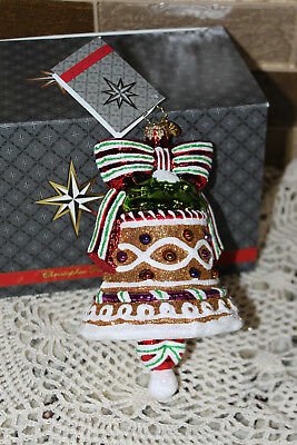 """Christopher Radko Christmas Xmas Tree Ornament """"GINGER BELL"""" with Bow CANDYLAND"""