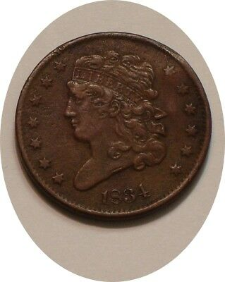 1834 Classic Head Half Cent sharp Full DETAIL with pinched bent  rim