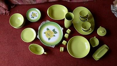 Unused Vintage Melamine Green (Yellow Rose on plates & side dishes) 46 Piece