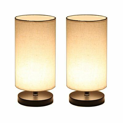 DEEPLITE Wood Table Lamp with Fabric Shade, LED Bulb Bedside Desk Lamp, set of 2