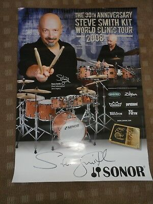 """SIGNED PROMO POSTER FOR THE 30th ANNIV.""""STEVE SMITH"""" KIT WORLD CLINIC TOUR 2008"""