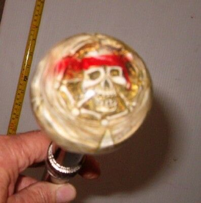 """Free Shippin 37"""" Glass Handle With Pirate Skull And Ships Walking Cane , Walking"""