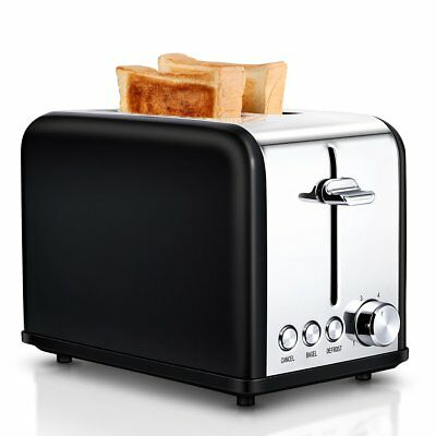 Small Wide Slot Black Toasters Two Slice, Stainless Steel Cool Touch Kitchen