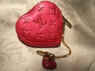 b5da33dd2 Louis Vuitton Pomme D'Amour Monogram Vernis Heart Coin Purse Rose Pop Pink