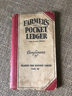 Vintage John Deere Farmers Pocket Ledger,  Belanger Farm Equipment Co, Lowell,IN