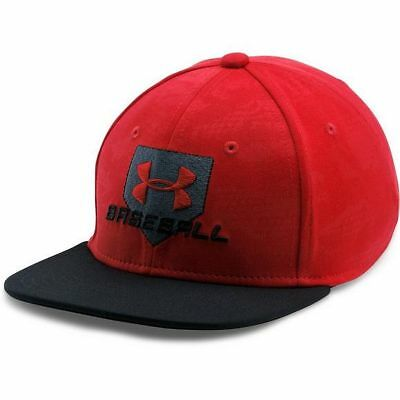 Under Armour Boys' Baseball Embossed Cap, Red / Black, Size Youth Small / Medium