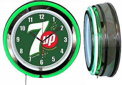 """7 UP with Bubbles 19"""" Double Neon Green Neon Clock  Mancave Bar"""