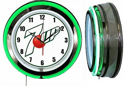 """7 UP white sign 19"""" Double Neon Green Neon Clock  Mancave Bar"""