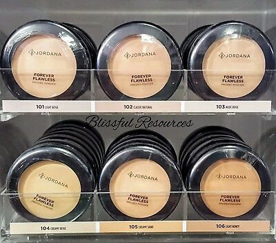 Jordana Forever Flawless Pressed Powder Medium Coverage w/ Mirror&Puff Included