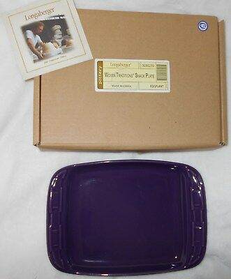 Longaberger Woven Traditions Pottery Snack Appetizer Plate - Eggplant!  NIB!