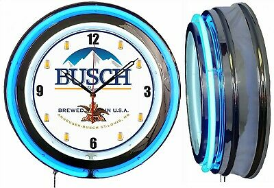 "Busch Beer 19"" Double Neon Clock Blue Neon Mancave Bar Gameroom Garage"