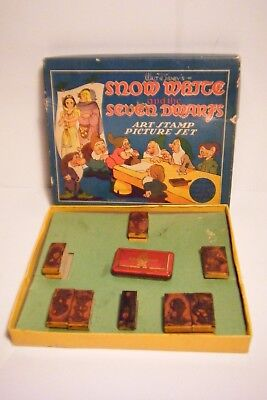 Vtg 1937 Walt Disney Enterprises Snow White & The 7 Dwarfs Art Stamp Picture Set