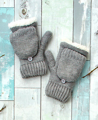 The Lakeside Collection Berber Lined Flip-Top Mittens - Gray