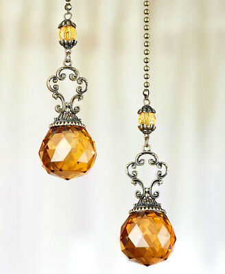 The Lakeside Collection Set of 2 Vintage Jeweled Fan Pulls - Amber
