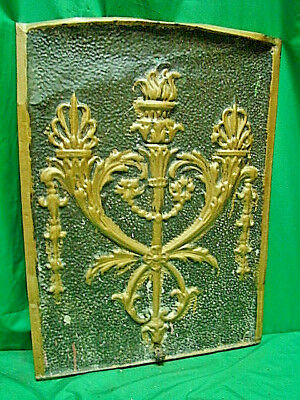 Antique Late 1800's Tin Ornate Summer Fireplace Cover Torches