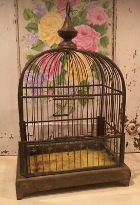 Rare Antique French Brass Birdcage with White Tiny Crosses on Front Glass Panel