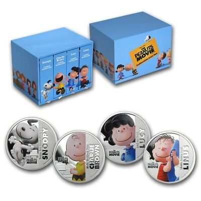 Niue The Peanuts Movie 2015 4 $2 Snoopy 1oz .999 Proof Silver Coin Set