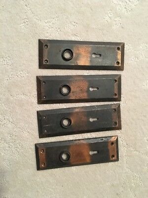 4 Antique Vintage Primitive Shabby Door Knob Lock Key Hole Plate Parts