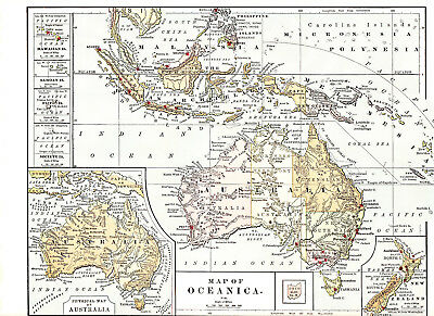 ca 1890 Map of Oceanica excellent condition