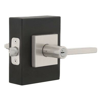 Square Keyed Entry Door Lever SmartKey Satin Nickel Finish Security Lock New